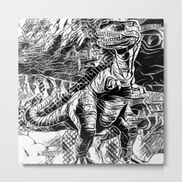 T-Rex Pen and Ink Metal Print