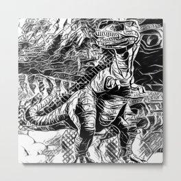 T-Rex Pen and Ink Metal Print
