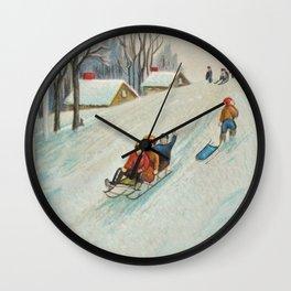 Happy vintage winter sledders Wall Clock