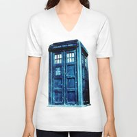 tardis V-neck T-shirts featuring TARDIS by Hands in the Sky