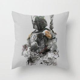 Boba Fett Grunge Throw Pillow