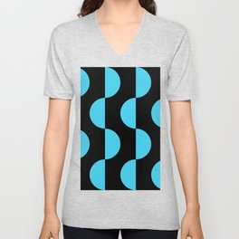 Mid century modern abstract moon wave geometric art  (blue on black) Unisex V-Neck