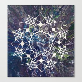 White Mandala on Purple Fluid Acrylic Painting Canvas Print