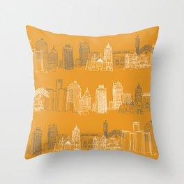 Detroit Architecture Landmarks Throw Pillow