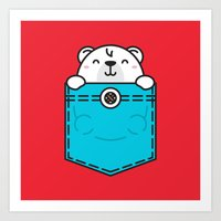 pocket Art Prints featuring Pocket Polar by Steven Toang