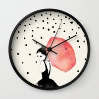 polka Wall Clocks featuring Polka Rain by Karen Hofstetter