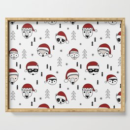 Scandinavian geometric woodland santa indian animals christmas pattern white red Serving Tray