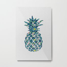 Pineapple Teal Metal Print