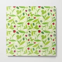 Green tea leaves pattern, lemon, cherry, flat illustration Metal Print