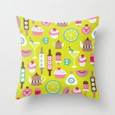 Lime cocktail party and candy kitchen food print Throw Pillow