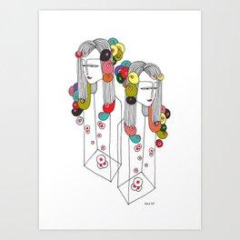 Sisters in a bottle Art Print