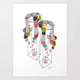 Sisters in a bottle Art Print