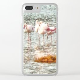 Six Flamingos A Wading Watercolor Clear iPhone Case