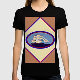 A Nautical Scene with Clipper Ship with Taupe Background T-shirt