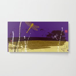 Flying Dragonflies In Purple and Yellow Metal Print