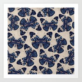 Hamadryas Butterfly pattern - watercolor Art Print
