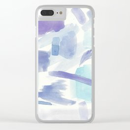 Blue and Purple Cotton Candy Abstract Clear iPhone Case
