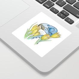 The Parakeet and The Crocus Sticker