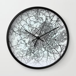 Limoges, France, White, City, Map Wall Clock
