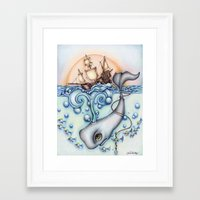 "moby Framed Art Prints featuring ""Moby"" by jrsillustration"
