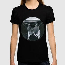 Hunter S. Thompson on vinyl record print T-shirt