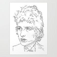 Bob Dylan WordsPortrait  Art Print