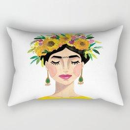 Floral Frida - Yellow Rectangular Pillow