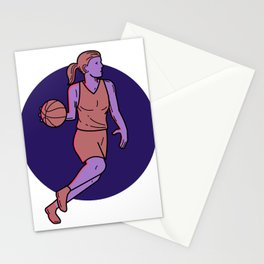 Woman Basketball Player Dribbling Mono Line Art Stationery Cards