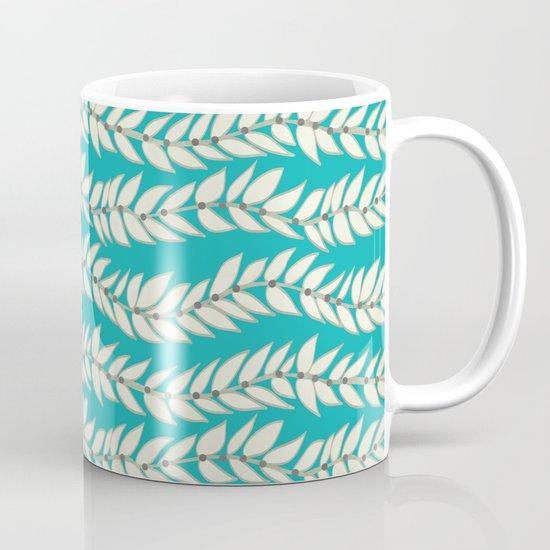 Leaf Dot Stripe Teal Mug