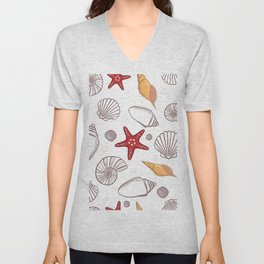 Seashell pattern background Unisex V-Neck
