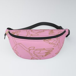 Brown and Pink Trees Blossom Outline  Surface Pattern Design Fanny Pack
