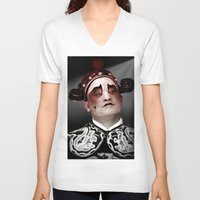actor V-neck T-shirts featuring Chinese opera (Actor Portrait). by Ian Gledhill
