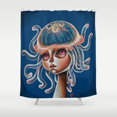 Jellyfish Head pop Surrealism Illustration Shower Curtain