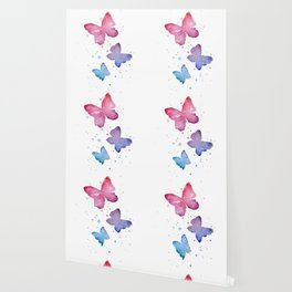 Butterflies Watercolor Abstract Splatters Wallpaper