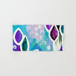 Abstract Flower Painting. Acrylic Painting. Purple. Teal. Blue. Circles Hand & Bath Towel