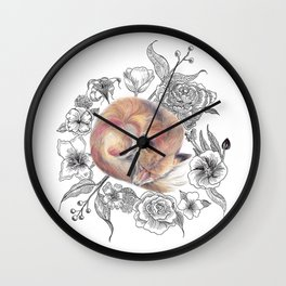 Fox and Flora Wall Clock