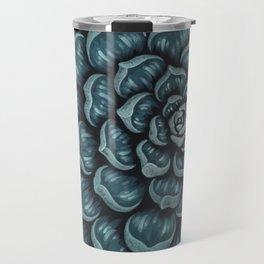Succulent Design in Blue Travel Mug
