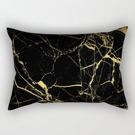 Black Gold Marble - Abstract, textured, marble pattern Rectangular Pillow