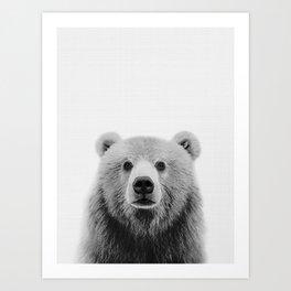 Brown Bear Black&White Art Print