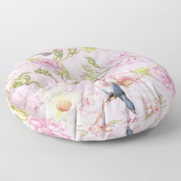 Floral painterly background in pink with Roses Flowers and Birds Floor Pillow