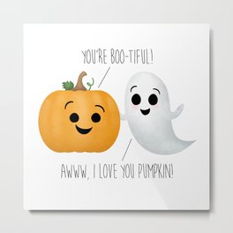 Boo-tiful Couple | Pumpkin & Ghost Metal Print