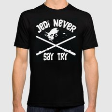 Jedi Never Say Try SMALL Black Mens Fitted Tee