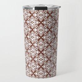 Damask (White & Brown Pattern) Travel Mug