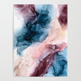 Pastel Plum, Deep Blue, Blush and Gold Abstract Painting Poster