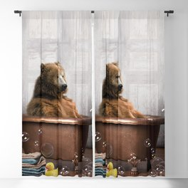 Bear with Rubber Ducky in Vintage Bathtub Blackout Curtain