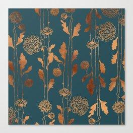 Art Deco Copper Flowers Canvas Print