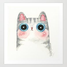 The Grey Cat Art Print