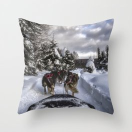 Running With the Dogs Throw Pillow