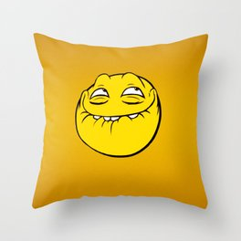Meme Face Smiley Emoticon Yelow Funny Head Troll Throw Pillow