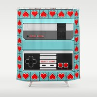 video game Shower Curtains featuring Video Game Lover : NES by The Geek Inside Me